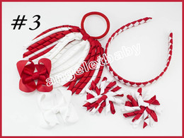 Wholesale Clipped Weave - 20sets korker Ponytail streamers woven headbands hair ties bows clips flowers corker Curly ribbon hair bobbles Accessories PD026