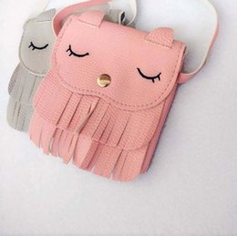 Wholesale Toddler Purses Handbags - Wholesale-Children tassel handbags girls small cat shoulder bag kids messenger bags mini bag Coin Mini Purses Toddler Wallet