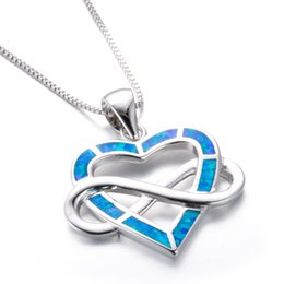 Wholesale Infinity Heart Pendant - Love Infinity Letter 8 Shaped Crossed Blue Fire Opal Heart Pendant Necklaces For Women 925 Sterling Silver Filled Gifts