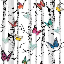 Wholesale Decorative Household - Decorative Wallpapers Tree Mural Color Butterfly PVC Wall Paper for Living Room Birch Tree Wallpaper for Walls,papel parede 3D