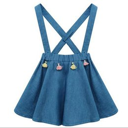 Wholesale Blue Suspender Skirt - 2017 New Princess Suspender Skirt Dress Tassel Cotton Baby Sundress Summer Spring Sweet Toddler Clothing Dresses Skirts Denim Blue A6016