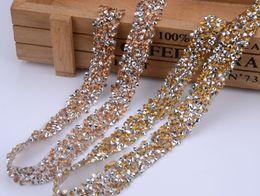 Wholesale Decoration Diamond For Dress - 5yard lot,Iron on rhinestone Trim Mesh strass chain cyrstal Banding bridal applique for wedding dress decoration
