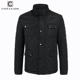 Jaqueta bussiness on-line-Atacado- CLASSE DA CIDADE 2017 Mens Quilted Jacket Multi-Pacotes Causar Bussiness Estilo Stand Collar Pilot Jackets e Coats Costume 3850