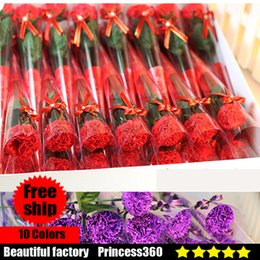 Wholesale Brown Favors - 32pcs Flower Soaps Bath Body Carnation Rose Petal Wedding Favors Birthday Gifts Home Decoration 10 Colors Flower Soap Rose S02-04