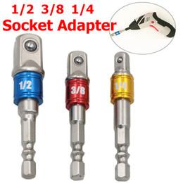 Barra del socket online-3pcs Set di adattatori per asta con codolo esagonale 1/4 3/8 di pollice in pollici di prolunghe per trapano driver