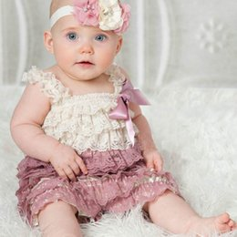 Wholesale Orange Brown Fashion Necklace - 2016 New Baby Girl Romper Elastic Lace Colorful Fashion Summer Jumpsuits 0-3T Not Have Headband Necklace Q003