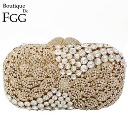Wholesale Interior Metal Panels - Gold & Clear Crystal Paisley Panelled Hollow Out Women Diamond Evening Clutch Bags Wedding Party Prom Handbags Metal Clutches