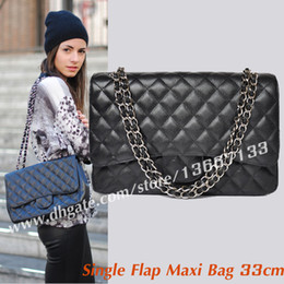Wholesale Maxi Single - Free Shipping Women's Black Caviar Single Flap Maxi Bag 33cm Female Genuine Leather Large Chain Shoulder Bag Single Flap Handbags 47600