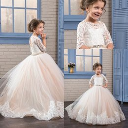 Wholesale Lovely Wedding - Lovely Flower Girls Dresses With Half Sleeves Lace Appliques Sash Crystal Girls Pageant Dress Lace-Up And Hollow Back Kids Communion Dress