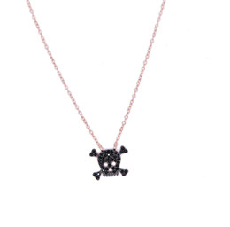 Wholesale Silver 925 Skull Chain - factory wholesale drop shipping stock pave black cubic zirconia rose gold 925 sterling silver ladies women skull necklace