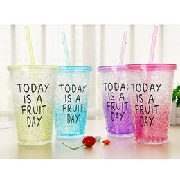 Wholesale Ice Straws - Wholesale- Candy Colors 450ML Milk Smoothie Iced Coffee Juice Water Plastic Drink Cup Bottle Beaker Lid With Straw Drinkware