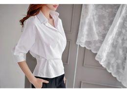 Wholesale Cheap Dolman Tops - Plus size batwing dolman sleeve tops white batwing sleeve shirt lapel neck cotton womens cheap white blouses