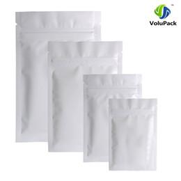 Wholesale Foil Fabrics - Different Sizes 100pcs Heat Sealing Aluminum Foil Plastic Package Bag Flat Double-Sided Matte White Mylar Zip Lock Bags