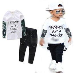 Wholesale Green Alphabet - INS Kids Boys tattoo green gauze long sleeved letters +Black pants WILDCHIL alphabet white blouse +Green pants