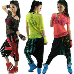 Wholesale Hip Hop Women Wear Wholesale - Wholesale-Kids Adult Hollow out hip hop top dance see-through Jazz costume performance wear stage clothing neon Mesh Sexy cutout t-shirt