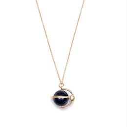 Wholesale Blue Sandstone - New Arrivals Brand Simple Style Earth Tellurion Shape Blue Sandstone Pendant Necklace Fashion Jewelry Bijoux for Women