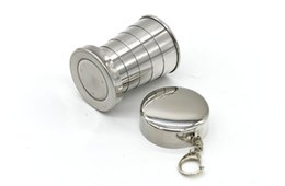 Wholesale Picnic Folding Cups - Portable Stainless Steel Folding Drinking Wine Cup Mug for Outdoor Travel Camping Picnic Key Chain Collapsible Telescopic Cups