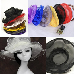Wholesale Organza Brim Hats For Women - top quality 2017 new arrival womens Organza Hat Kentucky Derby Wedding Church Party Floral Hat wide brim sun summer hats for women 8 colors
