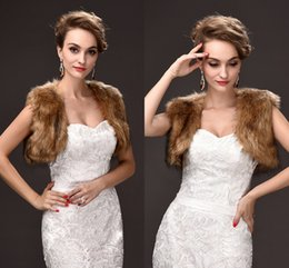 Wholesale Brown Faux Fur Shawl - Free Size Bridal Wraps Cheap Price Faux Fur Winter Wedding Coats High Quality Cheap In Stock Wedding Accessories CPA970