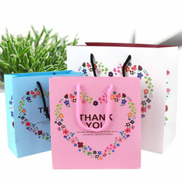 Wholesale Wedding Thank Gift Bags - Paper Shopping Bag with Handle Thank You Heart Flower Print Boutique Packaging Bags Wedding Party Gift Bags