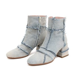 Wholesale Demin Women - Fashion Denim Autumn Women Short Boots 2017 New Thick High Heels Dress Shoes Woman Rome Motorcycle Booties Lady Pumps