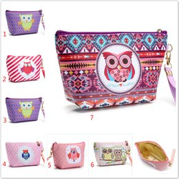 Wholesale Owl Organizer - Owl Handmade Cosmetic Bag Toiletry Animal Cartoon Travel Zipper Leather Makeup Waterproof Wash Organizer 21X12X7CM