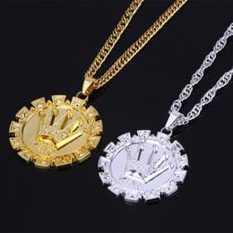 "Wholesale Stainless Medal - Mens Hip Hop Crown Round Medal Pendant Necklaces Design Jewelry Filling Pieces Men Golden Hip Hop Fashion Necklace w 27"" Chain"