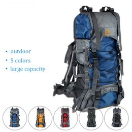 Wholesale 75l Outdoor Bag - 60L Big Capacity Waterproof Camping Backpack Outdoor Sports Climbing Cycling Bag Sport Rucksacks Camelback Women Men's Bags Free Shipping