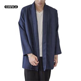 Wholesale Japan Style Kimono - Wholesale- New Spring Autumn Men Kimono Shawls Coat Male Hiphop Long Cardigan Jacket China Style Linen Loose Jacket