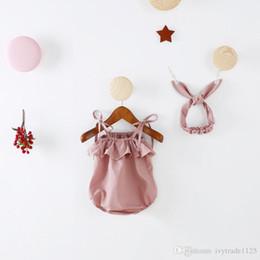 Wholesale Girls Suspenders - INS new arrivals summer baby kids climbing romper sleeveless pink color suspender romper girl kids romper summer rompers+headband