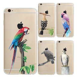 Wholesale Eagles Iphone - Cute Parrot Eagle Bird Clear Soft Silicone TPU Cell Phone Case for iphone X 8 7 6S Plus 5S 5C 4S Back Cover