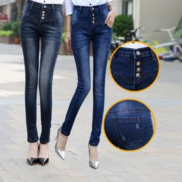 Wholesale high waist korean button jeans - Wholesale- 2017 New Jeans Women Summer Fashion High Waist Buckle Jeans Female Korean Version Was Thin Feet Pencil Pants Slim Women's Jeans