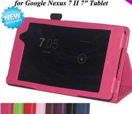 "Wholesale Google Nexus Tablet Cover - Wholesale-For Google Nexus 7 II tablet High quality Lichii PU leather stand case, for Nexus 7 2nd 7"" tablet pc cover"