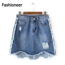 Wholesale Jean Skirt Shorts Women - Fashioneer Women High Waist Denim Skirt Floral Embroidery Pocket Hip A Line Jean Short Skirts Large Size Spring Summer Skirts xiaochen1610