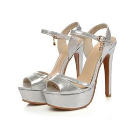 Wholesale Sandals 33 - Sandals Microfiber Shoes Woman's Big 44 45 46 47 Small shoes 31 32 33 high heel 13CM Platform 3CM EUR Size 30-48