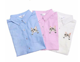 Wholesale Long Sleeve Cat Blouses - New High Quality Spring Autumn Women Blouse Cats Embroidery Long Sleeve Work Shirts Women office Tops White shirts for business