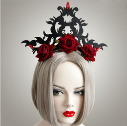Wholesale Queen Show - New fashion queen rose exaggerated crown hair hoop jewelry cosplay romantic show holiday holiday ornaments wholesale