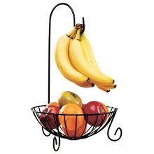 Wholesale Iron Fruits Plate - Novelty Kitchen Metal Fruit Basket with Detachable Banana Hanger Fruit Storage Holders & Racks iron fruit plate European-style snack rack