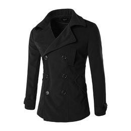 Wholesale Mens Wool Coat Xxl - Wholesale- Wool & Blends Coat Men 2016 Brand Design Overcoat Jacket Mens Manteau Homme Casual Slim Fit Outwear Casaco Masculino Black XXL