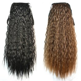 Wholesale Long Curly Ponytail Extensions - Wholesale-Fashion Women Ponytails Hair Extensions Black Brown Blonde Long Curly Ponytail Synthetic Hair Pony Tail Extension Wavy Hairpiece