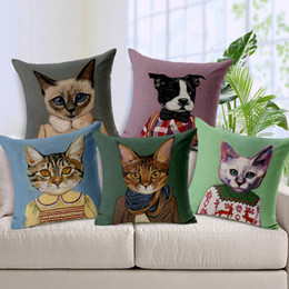Wholesale Ivory Polyester Chair Covers - Cartoon Adorable Cats Decorative Throw Cushion Cover Nordic Thick Linen Pillow Case Cushions for Car Sofa Chair Almofada Cojines