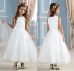 Wholesale Pure White Flower Girl Dresses - Pure A Line Jewel Ankle Length White Organza Most Lovely Flower Girls' Dresses For Weddings Flowers Beaded Pageant Girl's Gowns