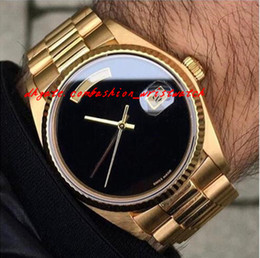 Wholesale Big Face Watches Men - Luxury Men Watch Automatic movement Big Black Face Mechanics Men's Watches Sapphire Original 18K Gold Stainless Steel Clasp Mens WATCH 36MM