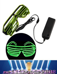 Wholesale Led Light Up Shutter Glasses - 2017 NEW Top El Wire Fashion Neon LED Light Up Shutter Shaped Glasses Rave Costume Party FREE SHIPPING MYY