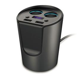 Canada En gros - 12-24 V 3.1A sortie USB Chargeur de voiture avec affichage de courant de tension charge rapide porte-gobelet Adaptateur de prise de voiture allume-cigare supplier 24v output adapter Offre