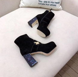 Wholesale Embellished High Heels - 2017 fall Fashion Womens black suede real leather faux pear embellished glitter chunky high heel side zip up square toe Ankle boots