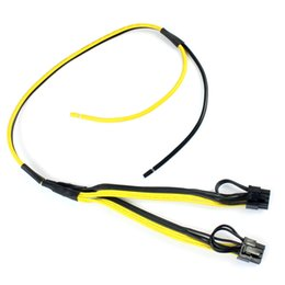Wholesale Rig Video - Dual PCI-e PCIe Graphics Video Card 8pin 6+2pin Splitter Power Cable Cord with Terminal for RIG Miner 12AWG+16AWG F21513