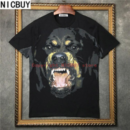 Wholesale Dog 3d T Shirt - 2017 summer fashion brand tag clothing men designer 3D animal Rottweiler color dog print t-shirt cotton tshirt women lovers t shirt tee tops