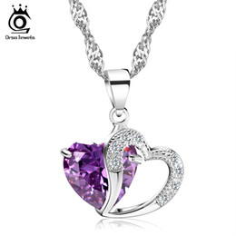 Wholesale Double Heart Crystal Necklace - Luxurious Amethyst Pendant,Double Hearts Style,Hot Selling Necklace,925 Sterling Silver on Platinum Plated ON36