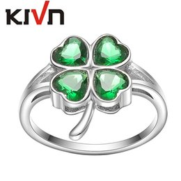 Wholesale American Girl Decorations - KIVN Fashion Jewelry Lucky Four Leaf Clovers Womens Girls Bridal Wedding Engagement Rings Christmas Decoration Birthday Valentine Gifts